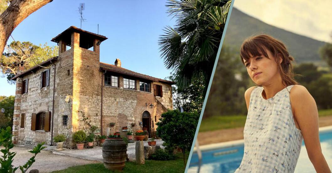 Huset i italien och Marianne vid poolen