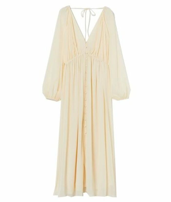 Gul långklänning i bohemisk stil till balen