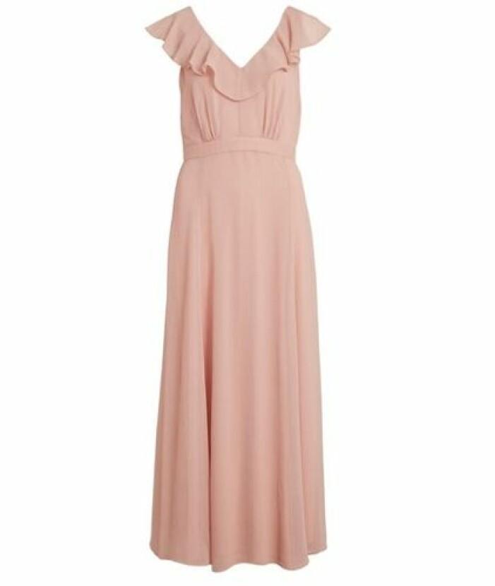 rosa långklänning med volang till bal