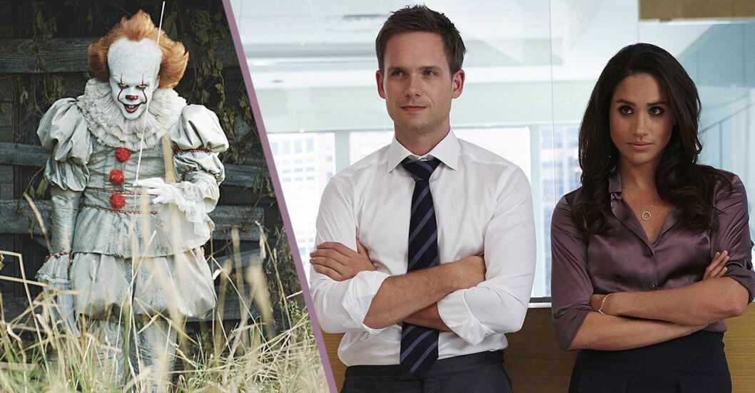 Delad bild med clownen från filmen Det och en bild på Mike och en bild på Mike och Rachel från tv-serien Suits
