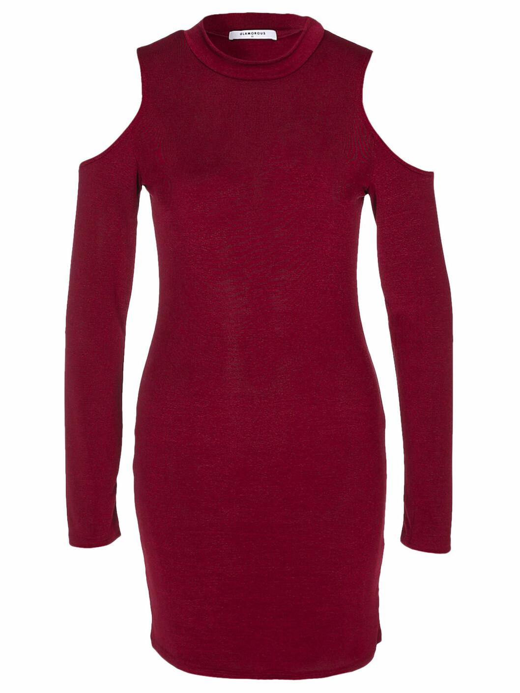 off shoulder klänning vinröd