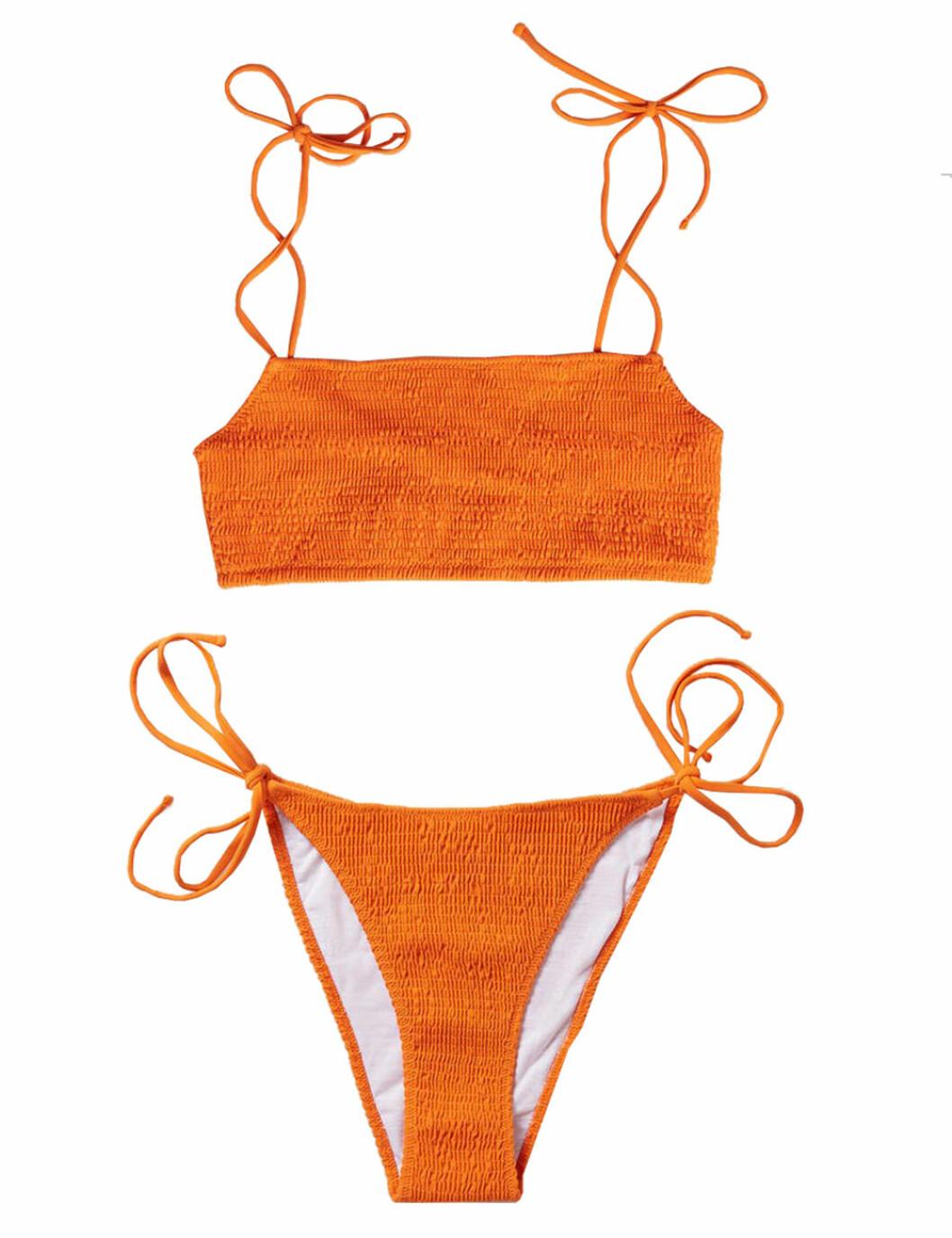 Orange bikini med smock och knytband för dam till 2020