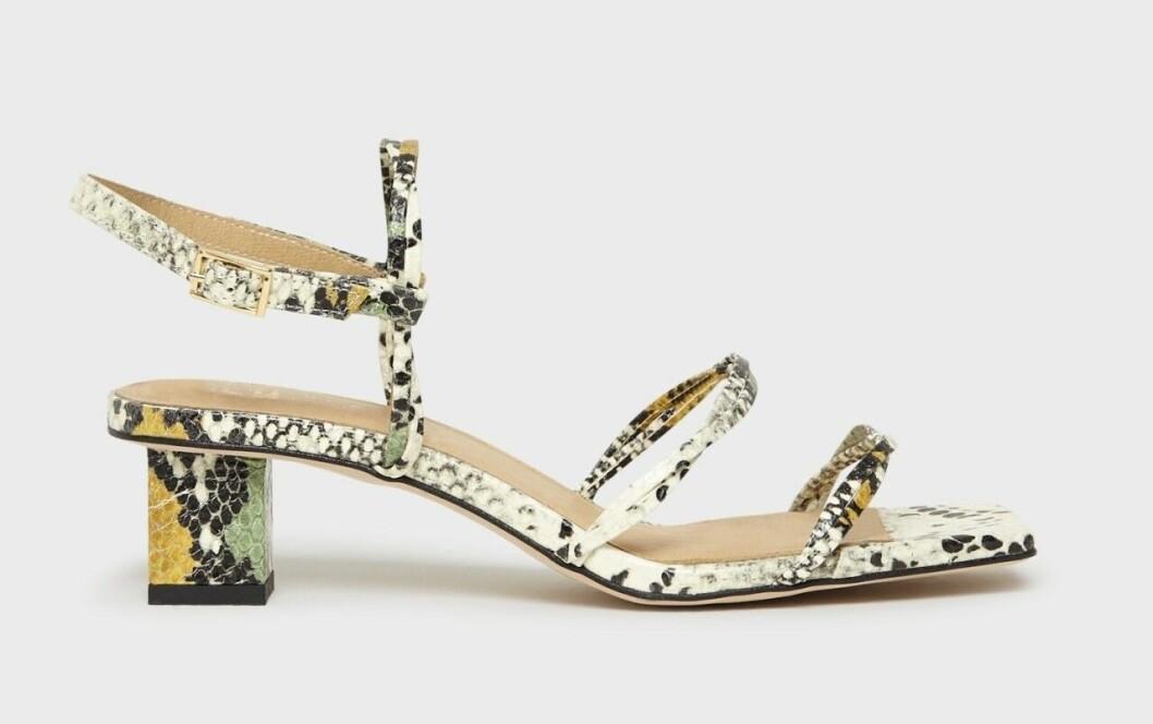Ormskinnsmönstrade skor med fyrkantig tå