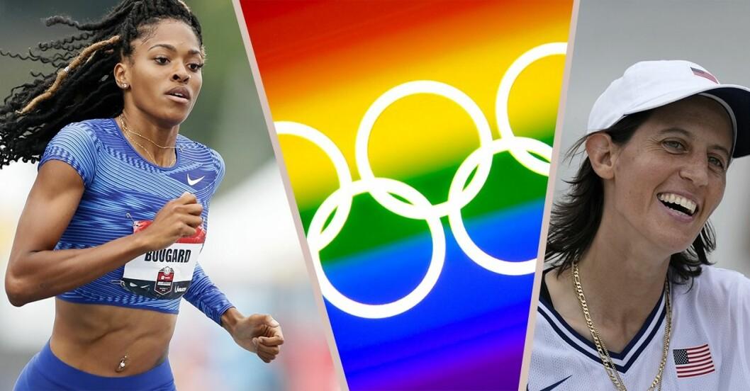 Erica Bougard, en prideflagga med OS-ringar, Alexis Sablone.