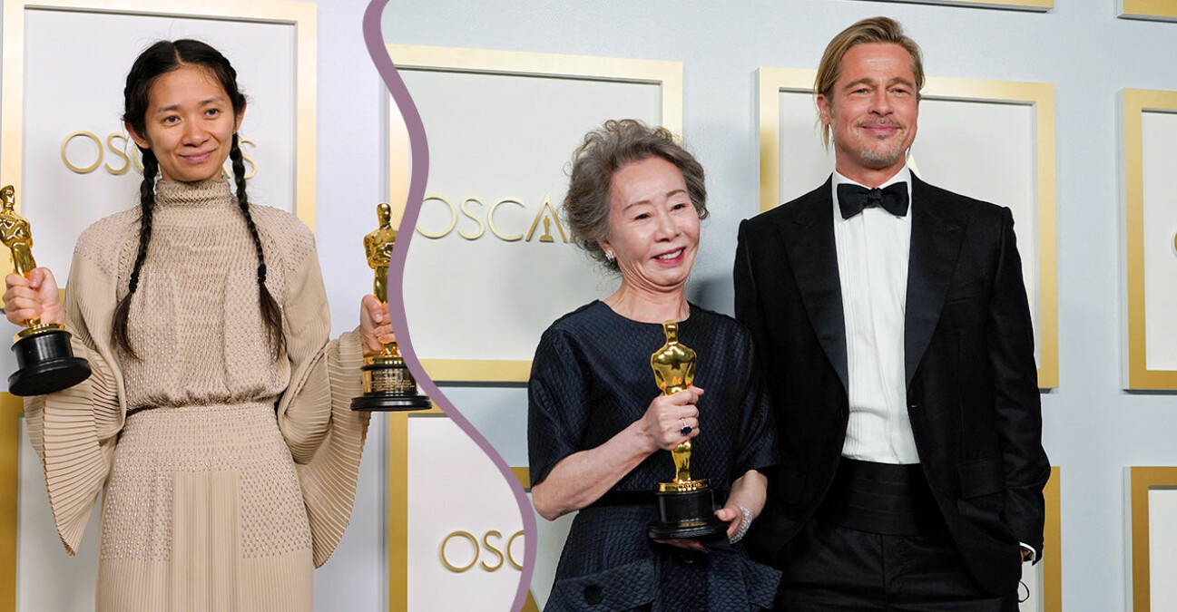 Chloé Zhao, Youn Yuh-Jung och Brad Pitt