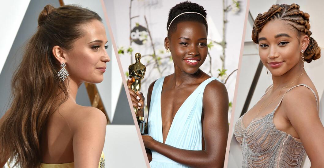 Alicia Vikander, Lupita Nyong'o och Amandla Stenberg på Oscarsgalan.