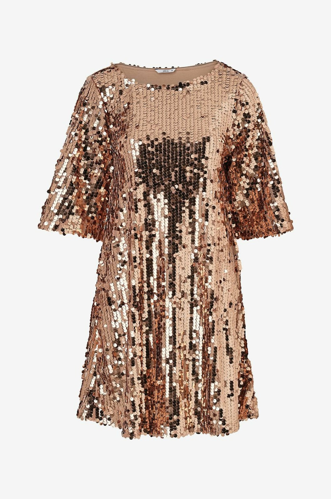 Guldfärgad paljettklänning för dam till nyårsafton 2019