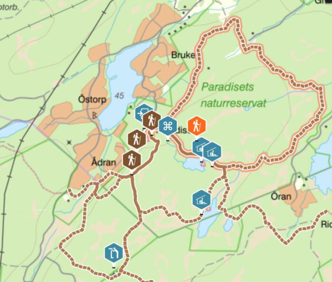 Karta över Paradisets naturreservat.