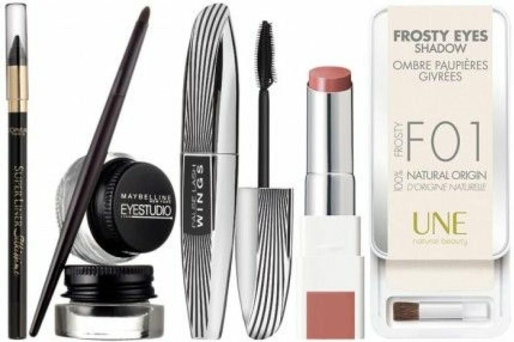 Kajal & mascara, L'Oréal. Eyeliner, Maybelline. Läppbalsan & ögonskugga, Une.