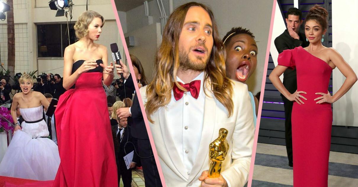 Jennifer Lawrence photobombar Taylor Swift, Lupita Nyong'o photobombar Jared Leto, Wells Adams photobombar Sarah Hyland