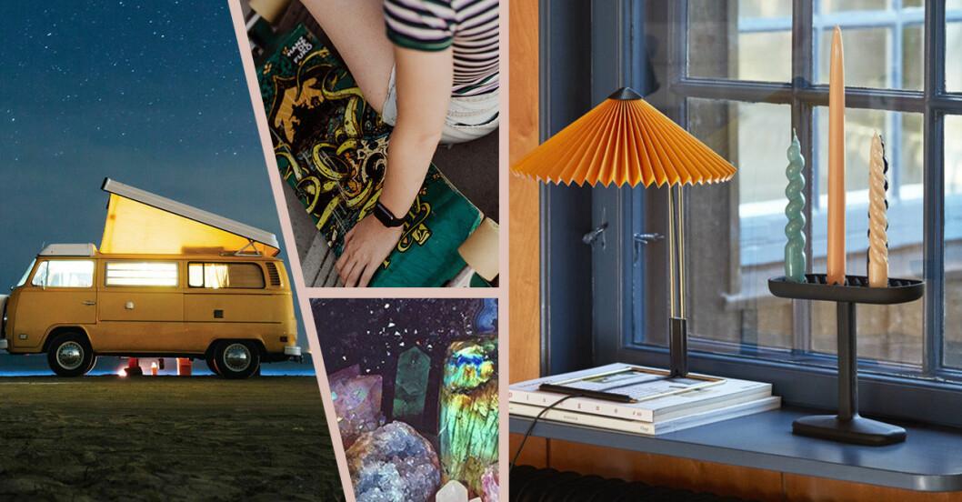 campervan, ljus, skateboard och kristaller