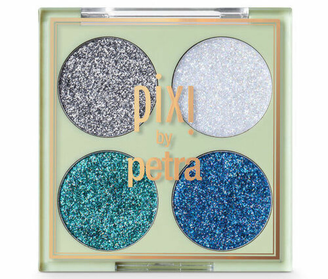 En bild på sminkpaletten Glitter-y Eye Quad Eyecolor kit, Blue Pearl från Pixi.
