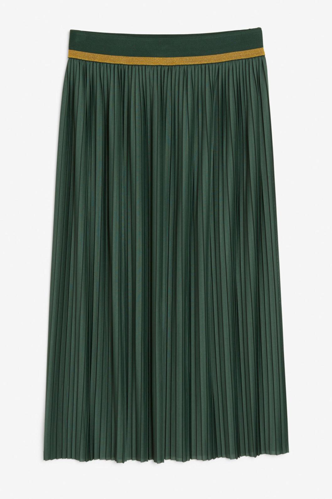 Grön plisserad kjol till hösten