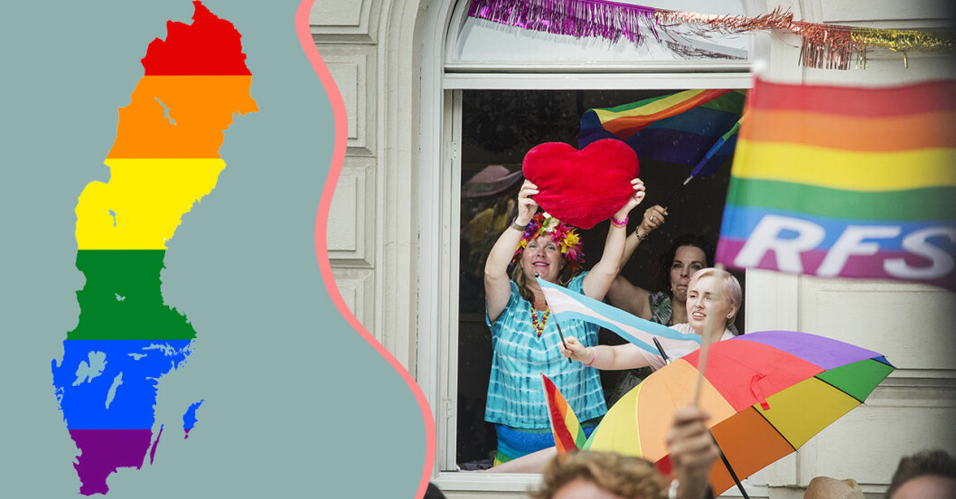 Sverige som pride-flagga samt glada människor under Stockholm Pride.