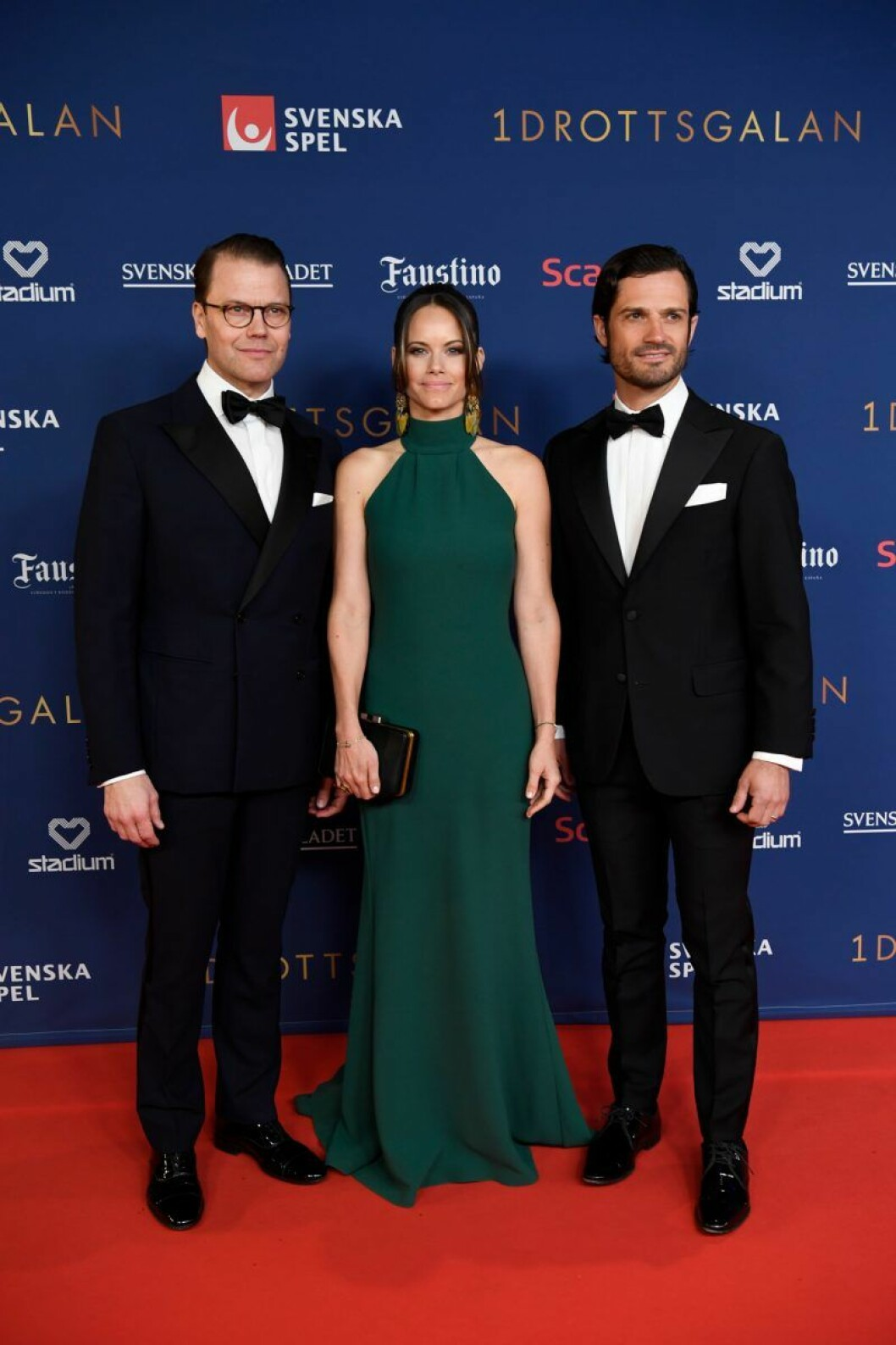 Prins Daniel, prinsessan Sofia och prins Carl-Philip på röda mattan på Idrottsgalan 2020