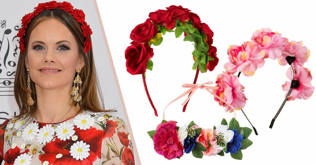 Prinsessan Sofia bar diadem med röda rosor – perfekt till midsommar