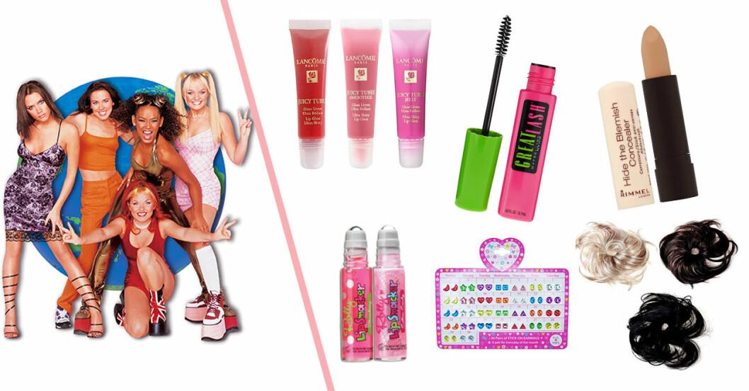 spice girls och massa smink och produkter från 90-talet