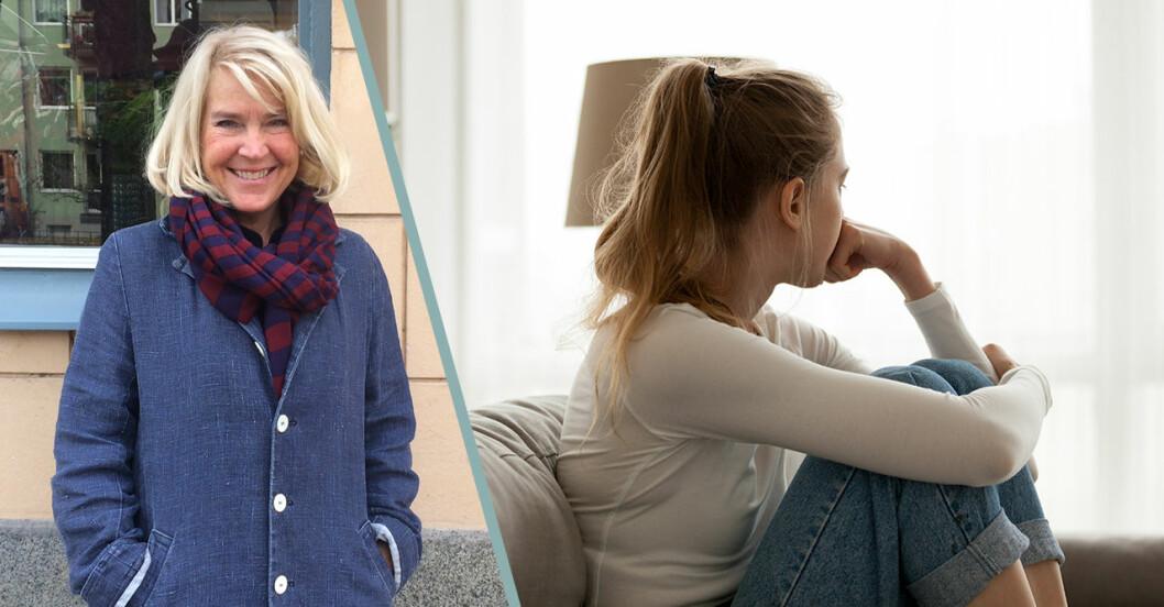 Till vänster: Lisa Ekselius. Till höger: En tjej som sitter uppkrupen i en soffa med ansiktet bortvänt från kameran.