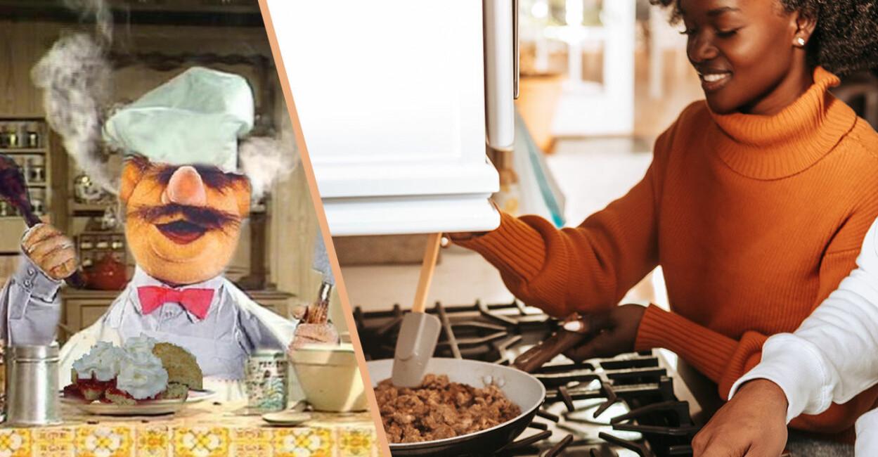 Swedish chef mupparna och tjej som lagar mat