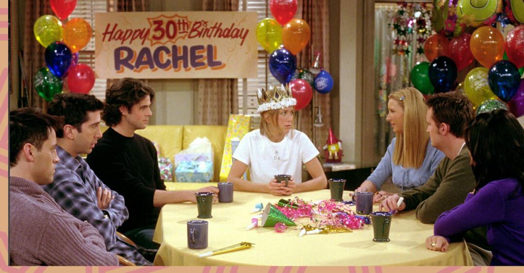 Scen från tv-serien Vänner där karaktären Rachel firar sin 30-årsdag