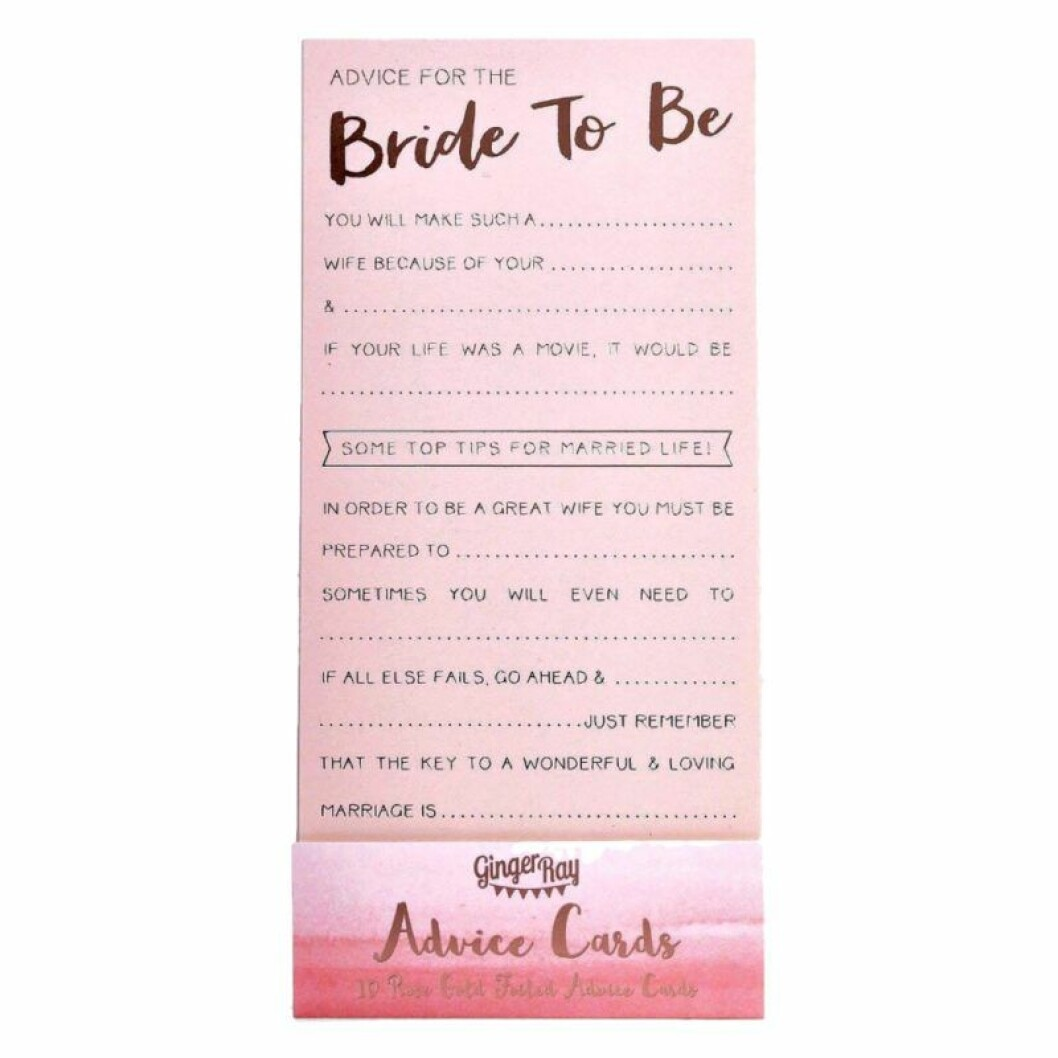 Rådkort till blivande bruden