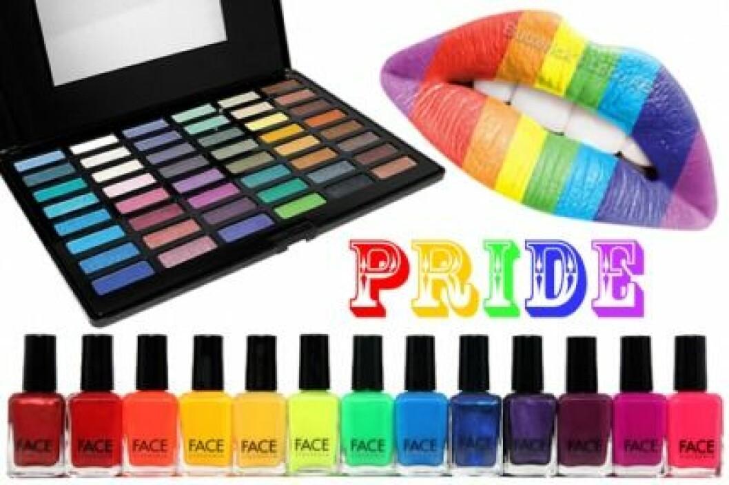Pride-smink i regnbågens alla färger