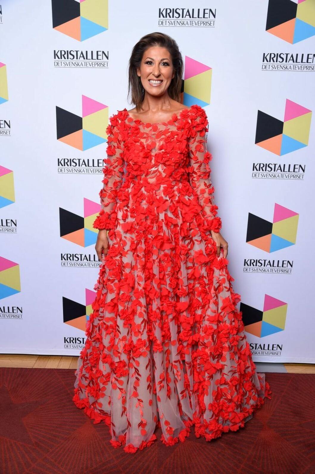 Rania Shemoun Olsson på röda mattan på Kristallen 2020