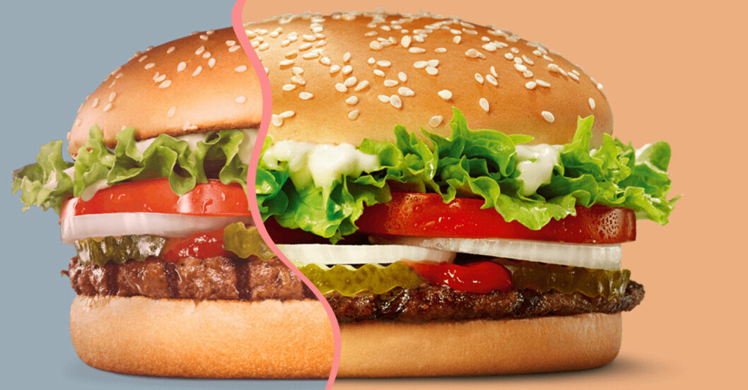 Den vegetariska och den köttbaserade burgaren i Burger Kings nya 50/50-meny.