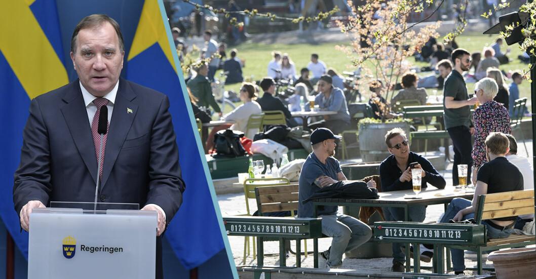 Uteservering i Stockholm och statsminister Stefan Löfven vid en presskonferens.