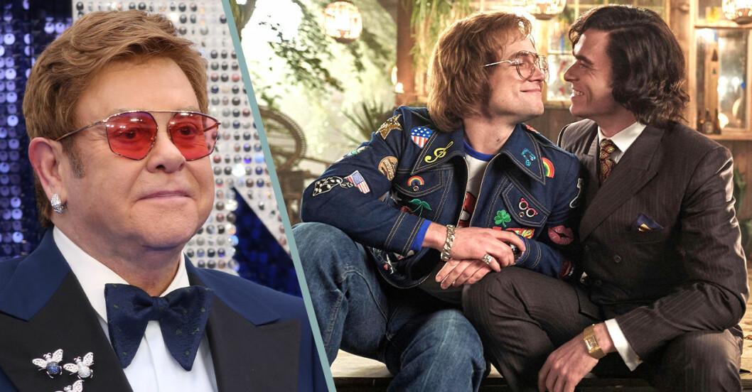 Elton John samt en bild från filmen Rocketman som censurerats i Ryssland.