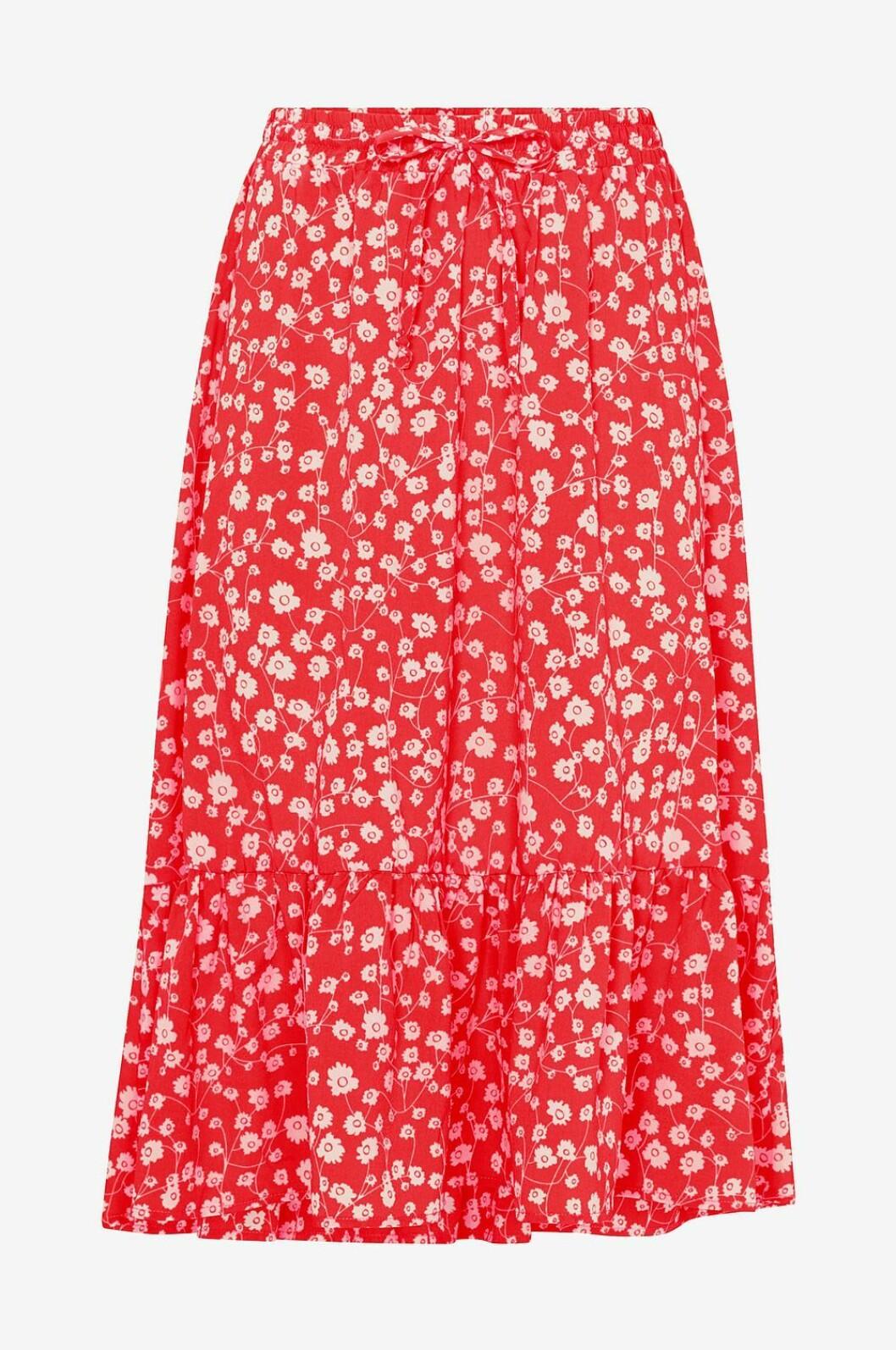 Röd blommig kjol för dam till våren och sommaren 2019