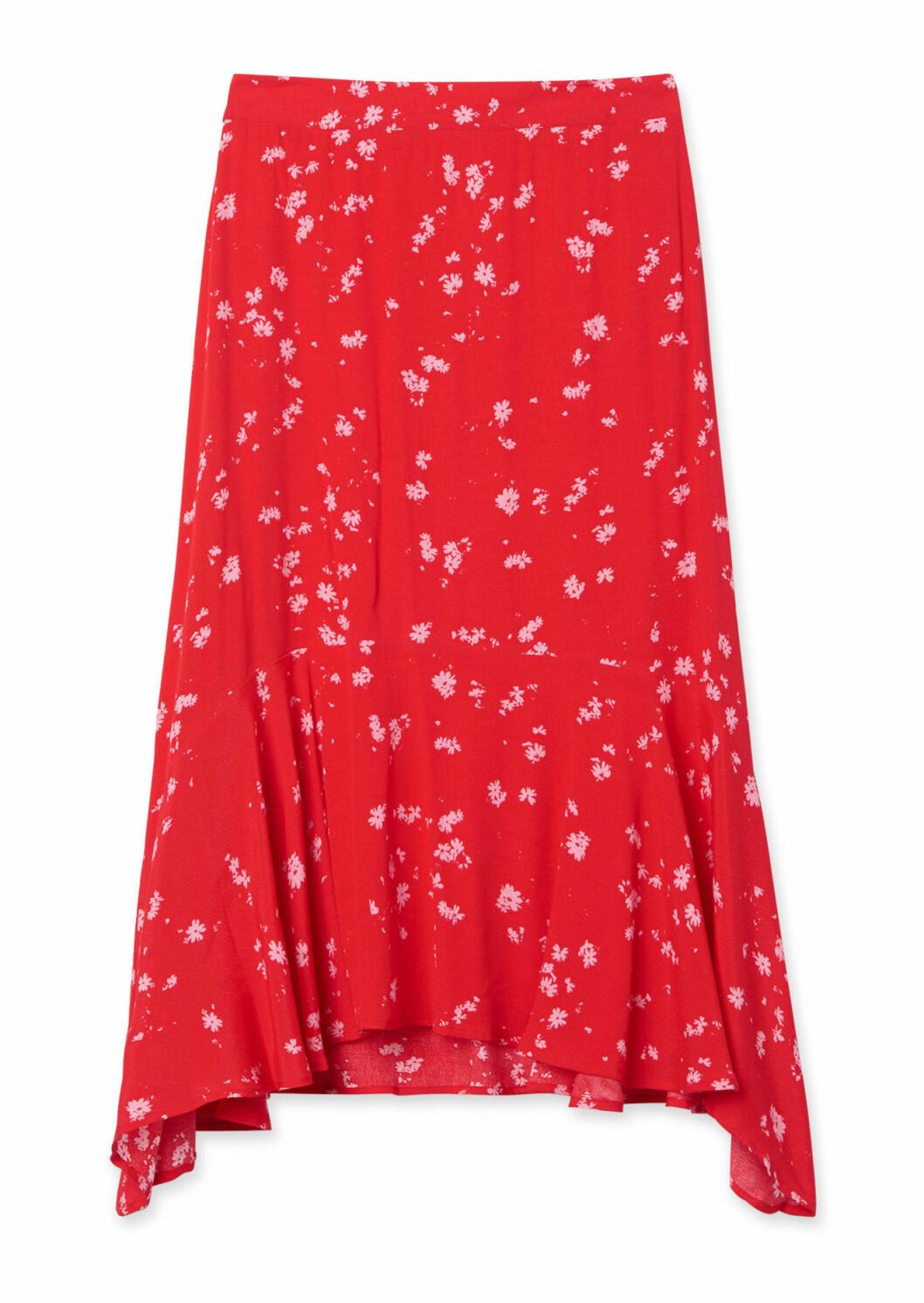 Röd blommig kjol för dam till 2019