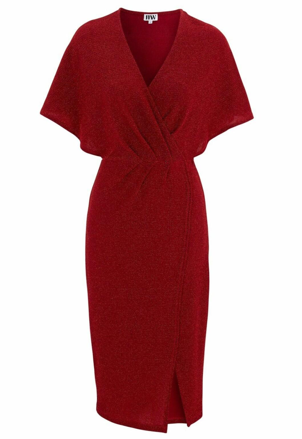 Röd glittrig omlottklänning för dam till 2019