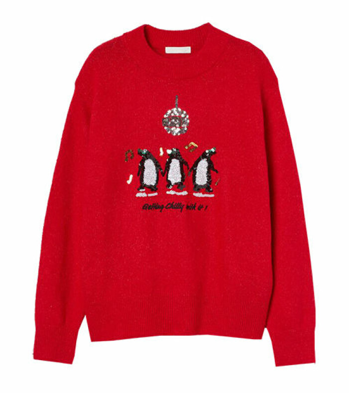 röd jultröja med paljetter