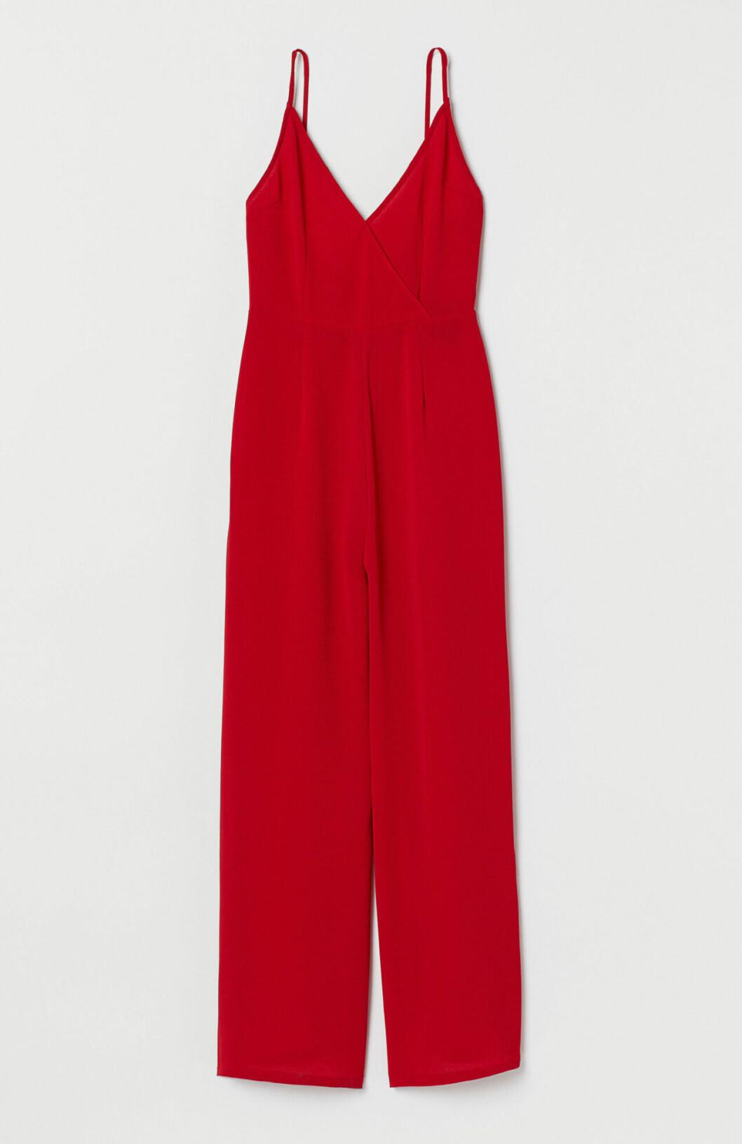 Röd jumpsuit med smala band för dam till festen