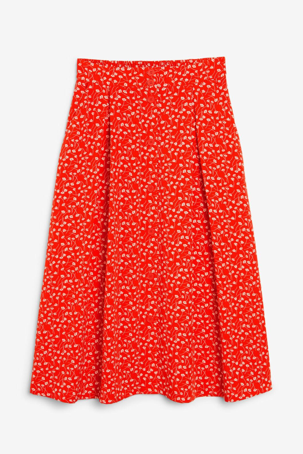 Röd vadlång kjol med knappar för dam till 2019