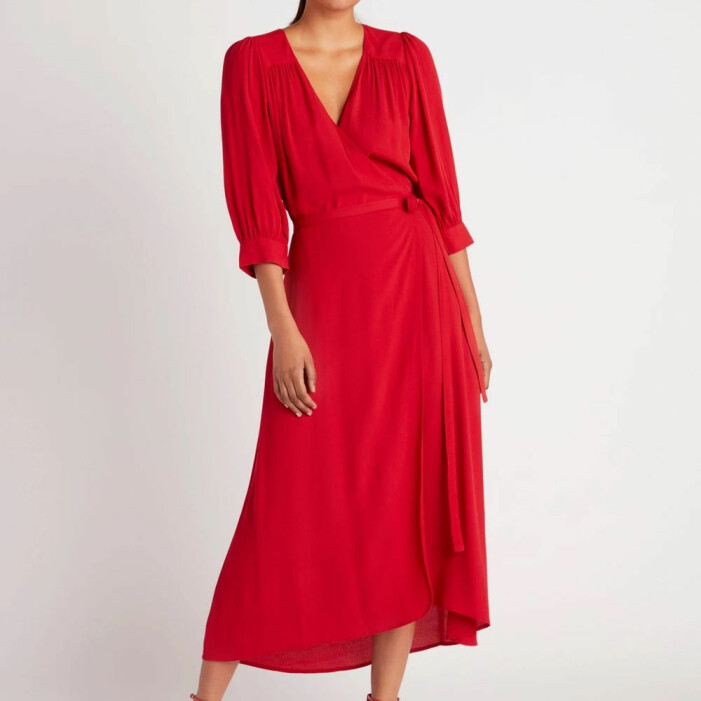 Röd omlottklänning från Lindex