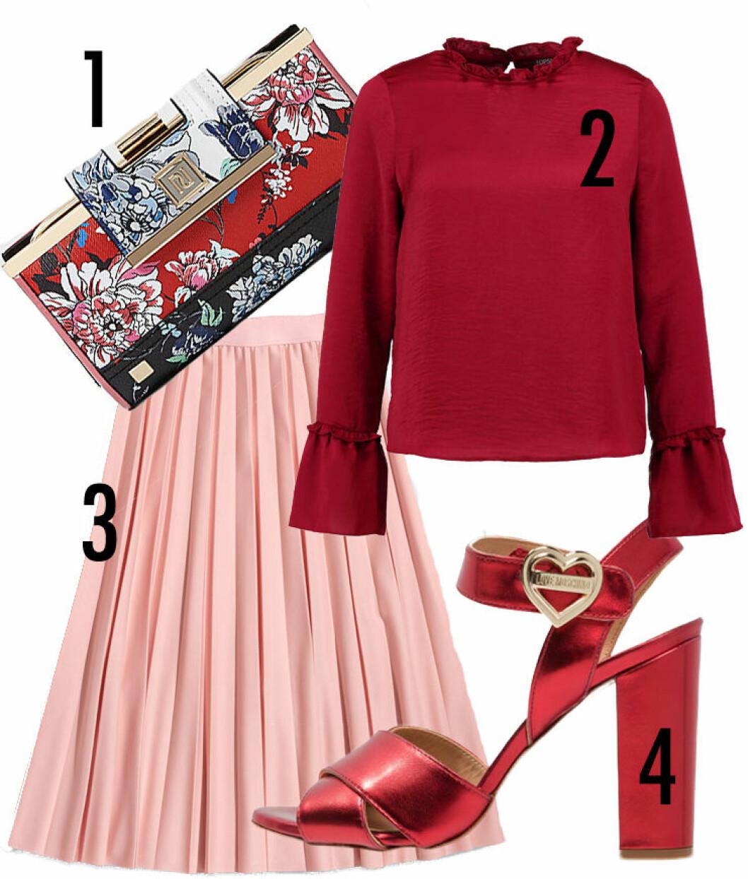 rosa röd outfit