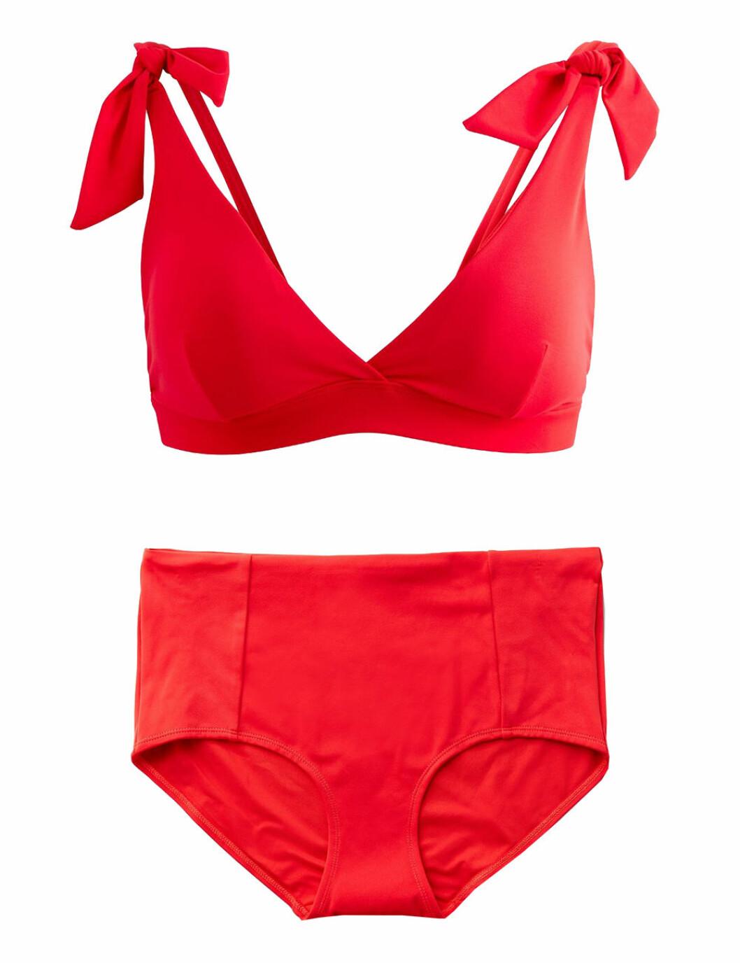 Röd skön bikini med hipstertrosor för dam till 2020