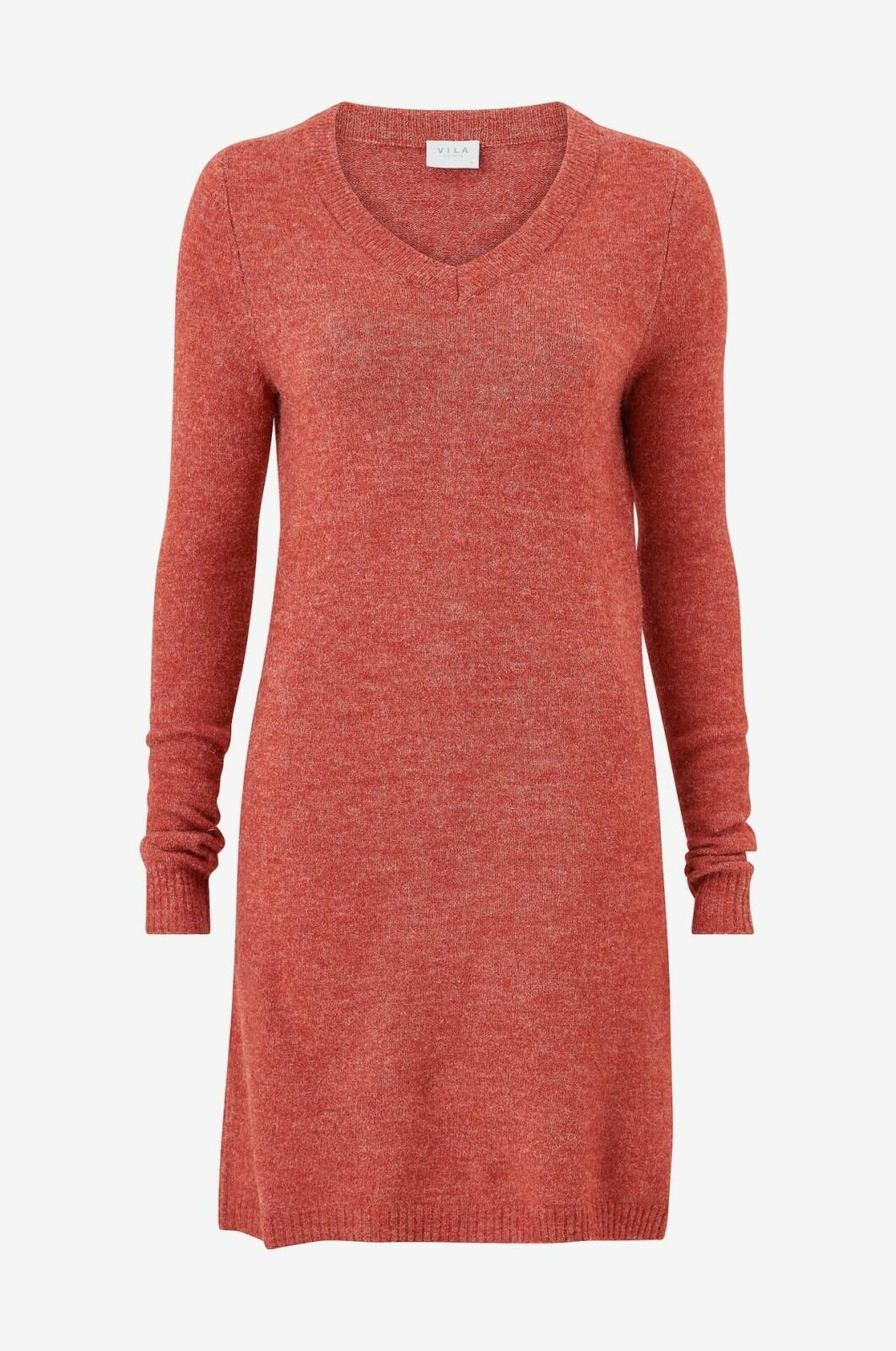 Röd stickad klänning för dam till hösten 2019
