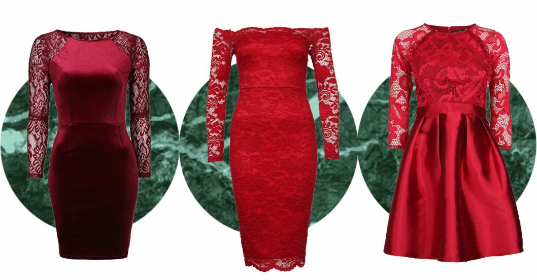 röda spetsklänningar julen 2016