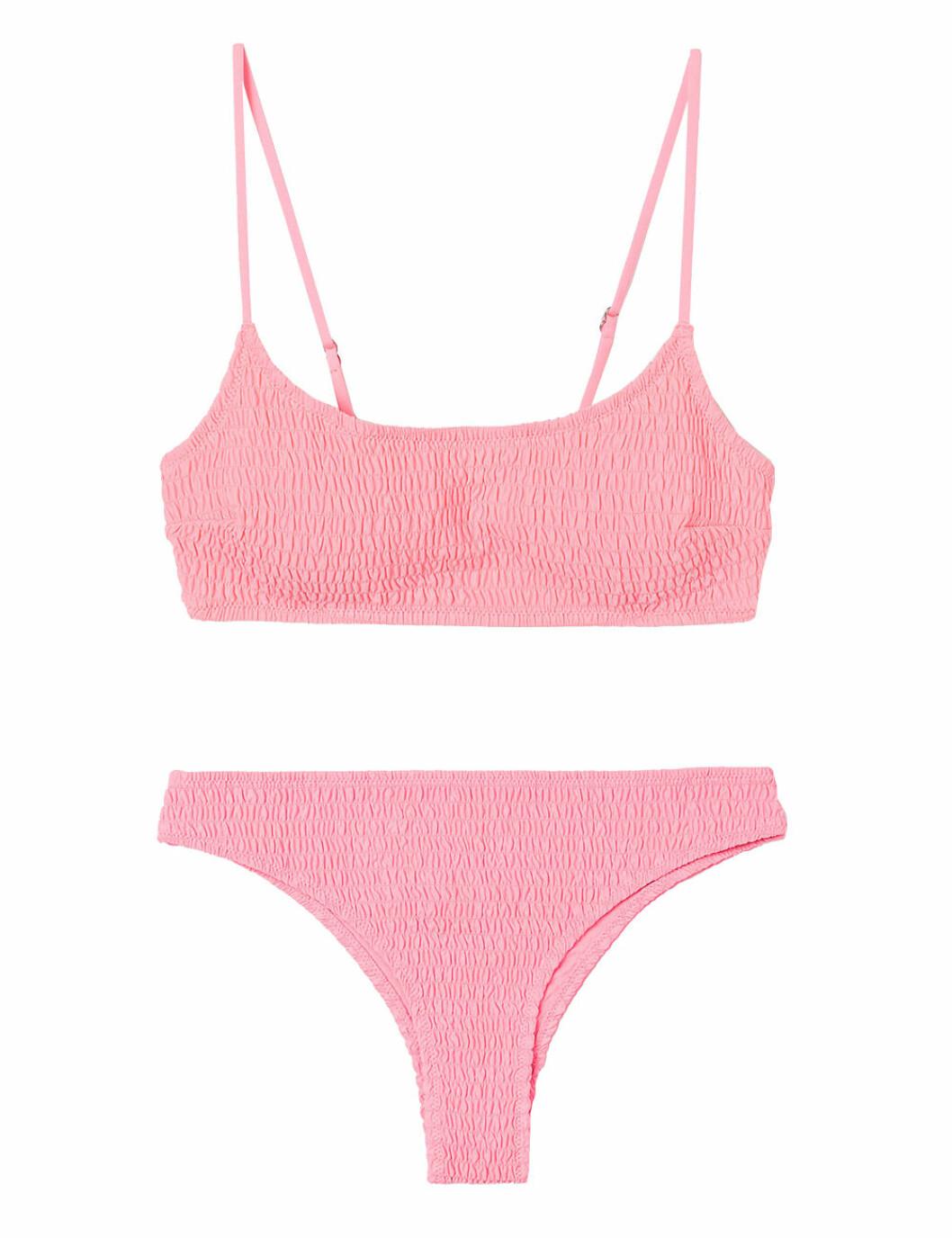 Rosa bikini med smock och tunna band för dam till 2020