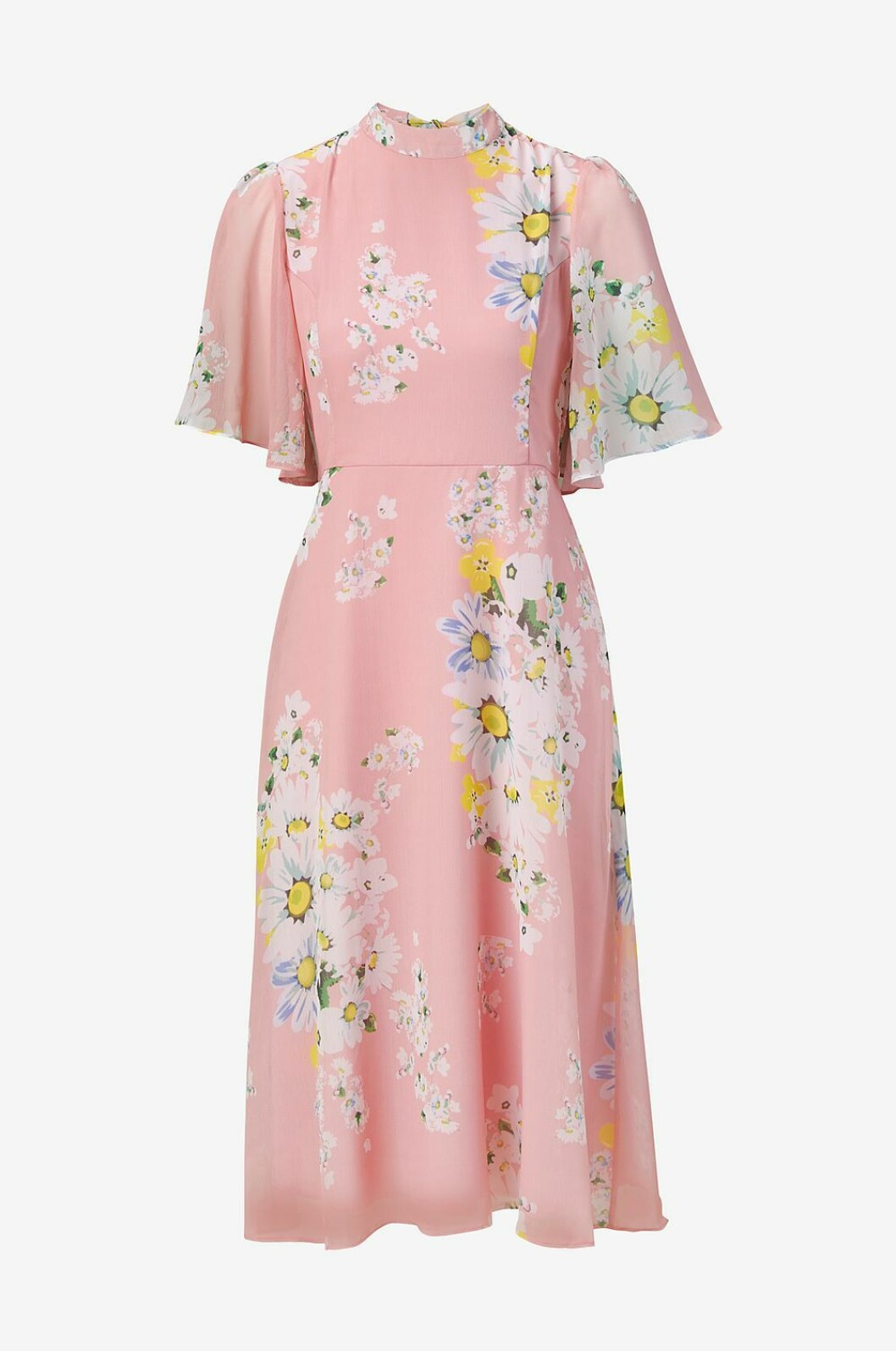 Rosa klänning med blommor till bröllop 2019