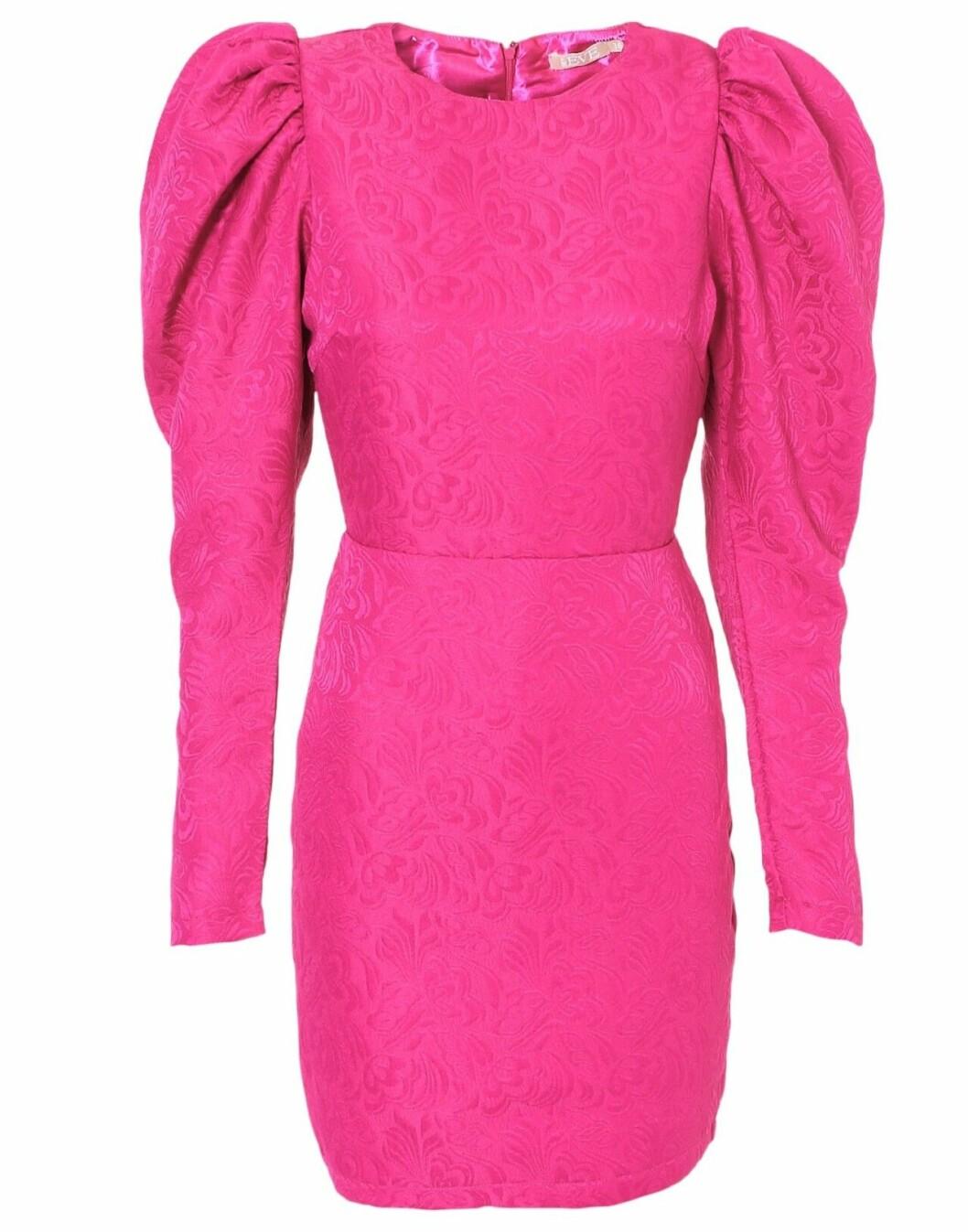 Rosa festklänning med puffärm för dam till 2019