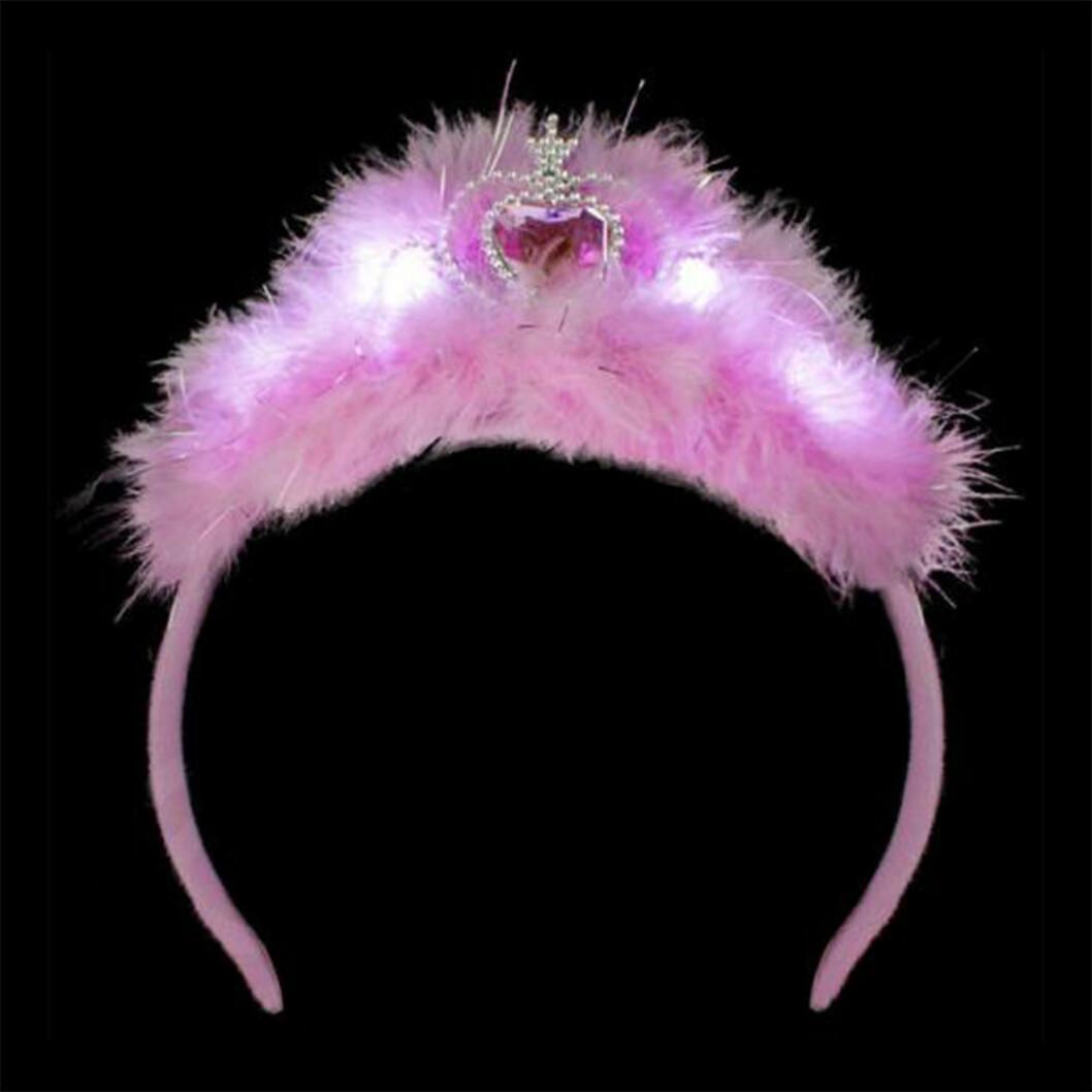 Tiara med rosa fluff till möhippa