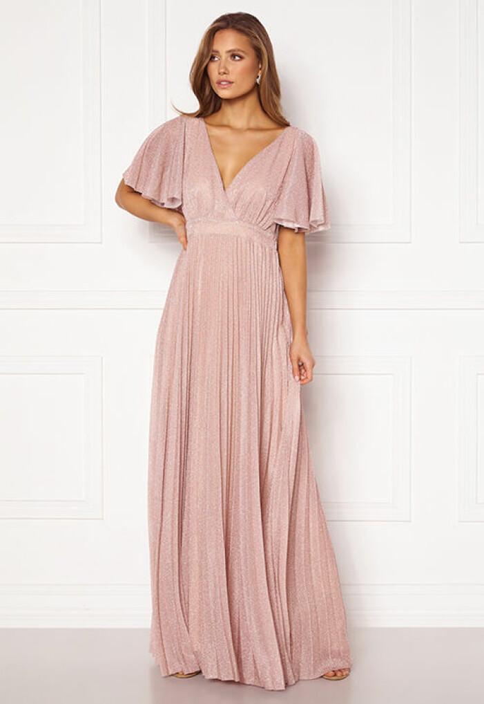 rosa glittrig balklänning