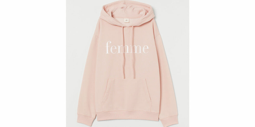 Rosa hoodie med text