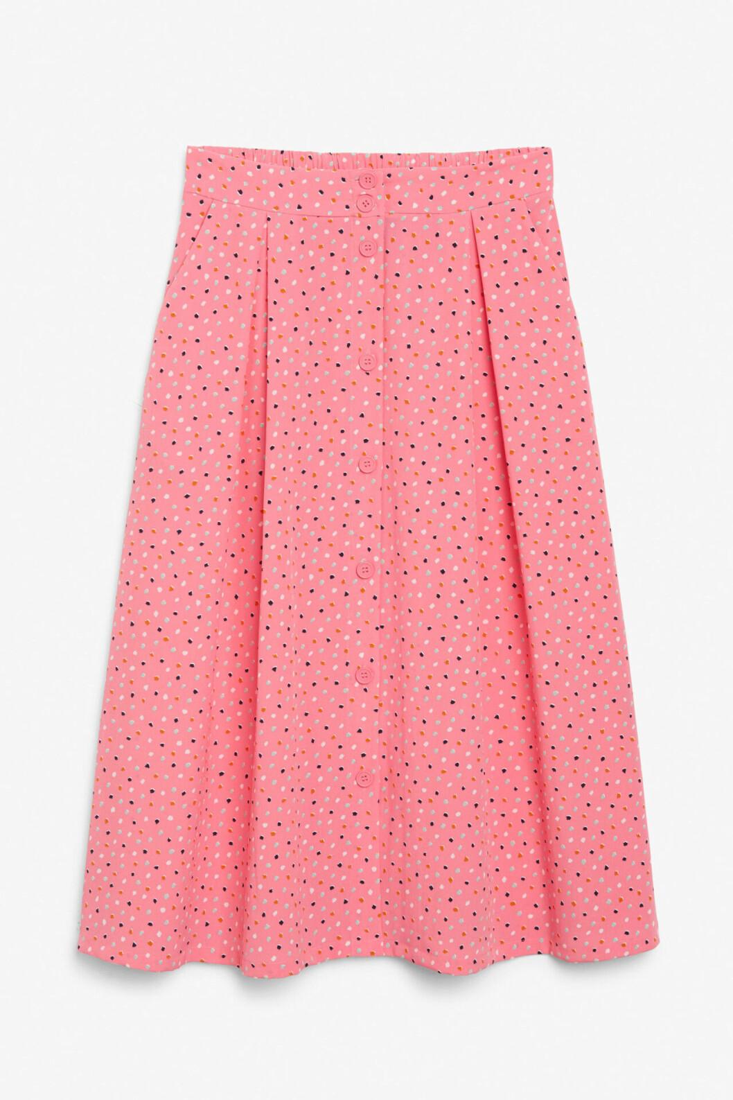 Rosa kjol med knappar för dam till 2020
