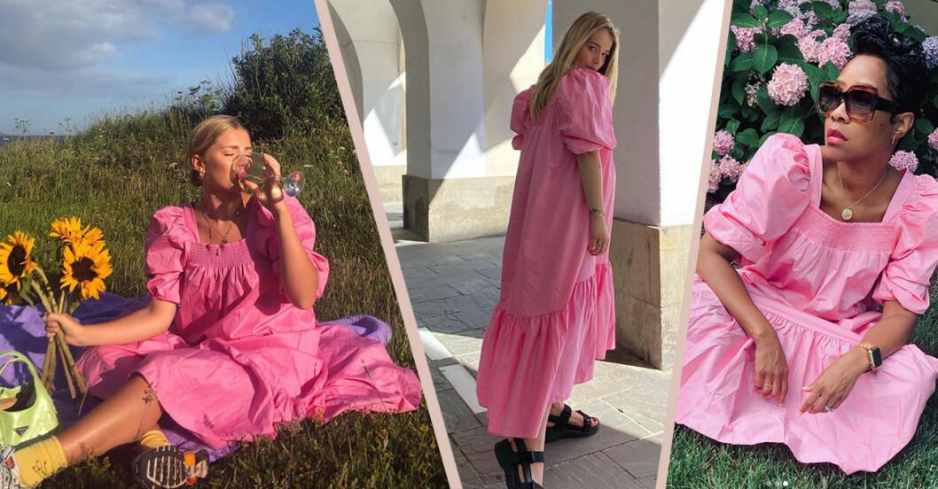 Den rosa klänningen med puffärm från H&M syns överallt på Instagram just nu