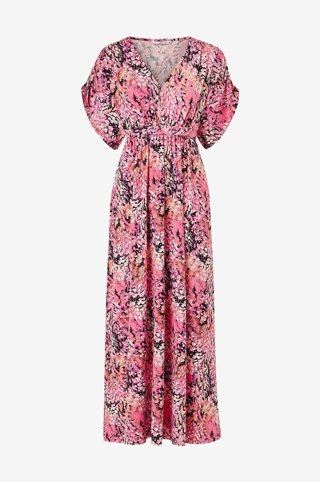 Rosa klänning med v-ringning för dam till 2020